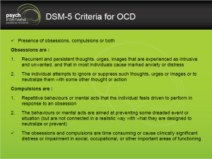 Obsessive Compulsive Disorder – Diagnostic Interview