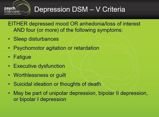 Depression DSM - V criteria