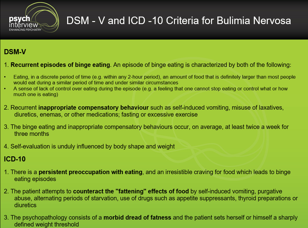 Source: DSM- 5 and ICD -10