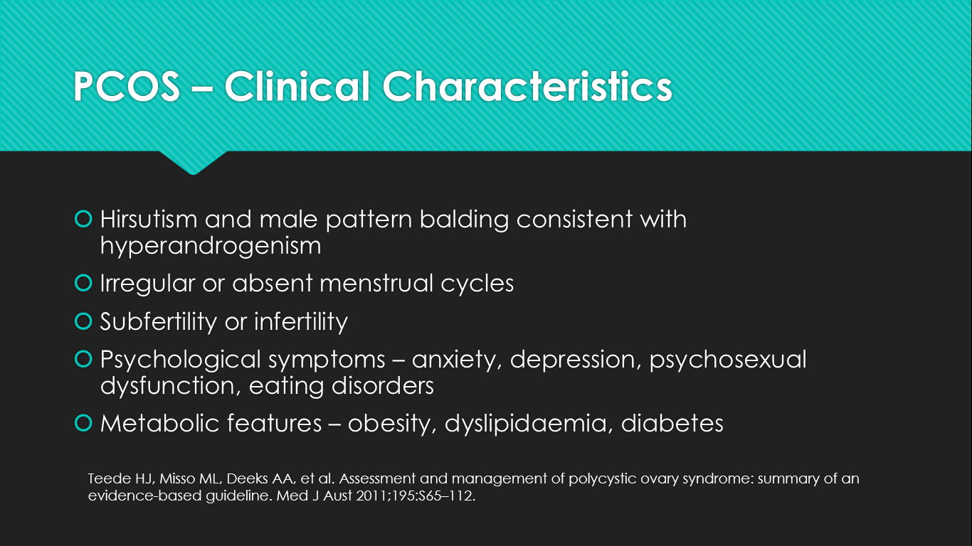 Clinical presentation in PCOS