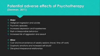 Side effects of psychotherapy